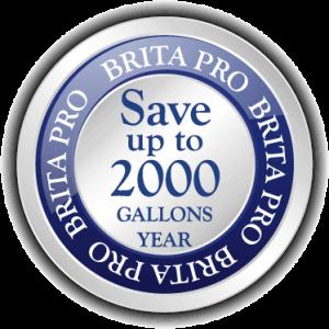 brita pro save 2000 gallons of water per year warranty icon badge