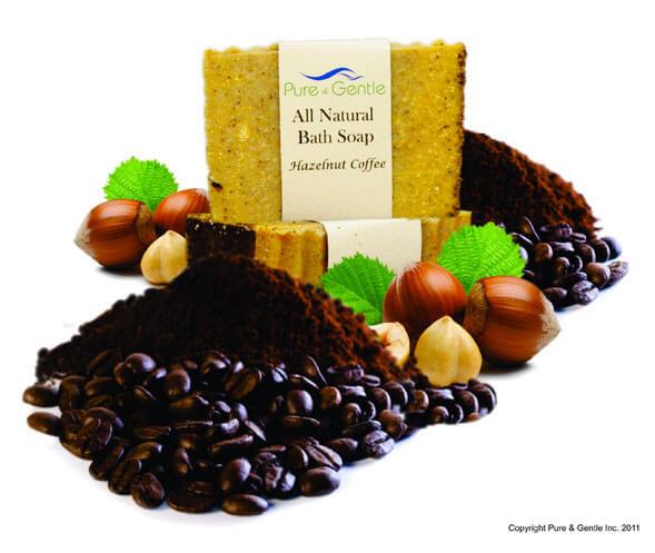 hazelnut coffee ground beans leaves soap product image