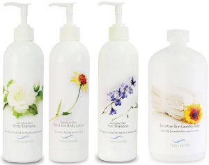 sensitive skin care package laundry hair lotion bottles product images