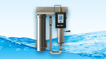 ultraviolet uv purification and disinfection systems with flowing blue water background graphic