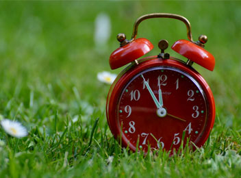save time red clock in grass