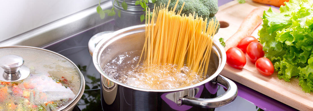pasta in boiling water pot on stove kitchen food vegetables nitrate titanium series
