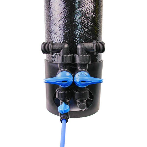 enpress one e1 connect system for cartridge tank filtration system integrated bypass meter drain connection system blue black